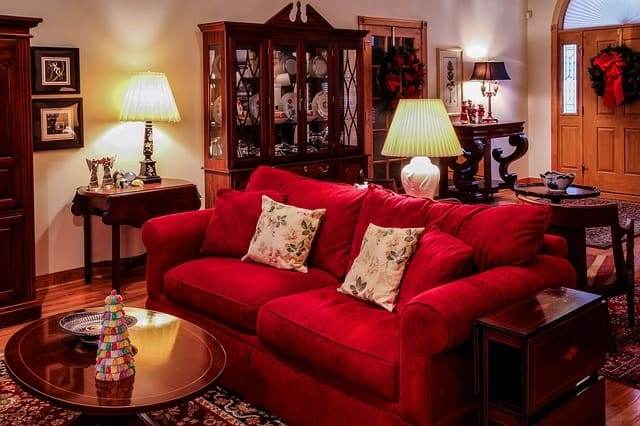 Red Colour Latest Wooden Sofa Designs